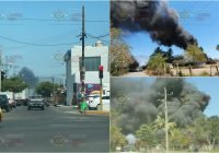 Se registra fuerte incendio en un predio rumbo al Rastro municipal de Tecomán