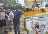 En Cuyutlán, con apoyo de amigos extranjeros y empresas, Pakiko Aguirre entrega 200 despensas