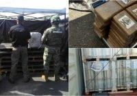 Personal de la Armada de México en coordinación con la aduana y fiscalía general de la república aseguran 40 paquetes con presunta cocaína en Manzanillo, Colima