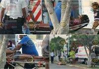Dos jóvenes resultan lesionadas tras impactarse en motocicleta contra un poste en Tecomán
