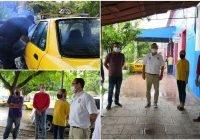 En Cuauhtémoc, la CNOP Estatal dota de cubre bocas a taxistas y sanatiza sus unidades