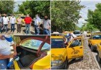 Líder de la CNOP entrega cubre bocas y encabeza sanitización de taxis en Armería