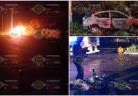 Grave motociclista al ser impactado brutalmente por un taxi en Tecomán; se registra incendio