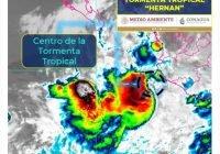 "¡ Alerta ! El centro de la Tormenta Tropical ""Hernan"" se localiza a 185 km al oeste de Manzanillo,Colima"