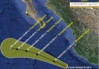 """El centro de laTormenta Tropical """"Julio"""" se localiza a al suroeste de las costas de Jalisco"""