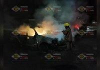 Vehículo se incendia en Quesería, Cuauhtémoc