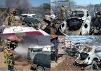 Se incendian vehículos dentro de un taller auto eléctrico en Villa de Álvarez