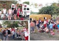 Vuelca camión con jornaleros agricolas en Los Reyes, Armería; se reportan 24 lesionados