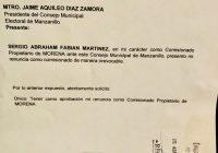 Renuncia representante de MORENA ante el Consejo Municipal Electoral de Manzanillo