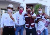 Respaldo a Elías en pega de calcamonias de promoción del voto masivo por Morena