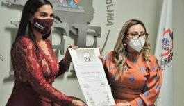 Entrega IEE Colima Constancia de Mayoría de Votos a Indira Vizcaíno, relativa a la elección para la Gubernatura