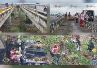Camioneta de la Fiscalía cae del puente de Sta. Rosa en Tecomán; elementos quedan prensados