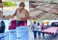 Beneficia Ayuntamiento de Manzanillo a 80 familias vulnerables con materiales de construcción
