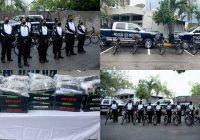 Entregó alcaldesa de Manzanillo bicicletas eléctricas y uniformes a policías de la Dirección de Seguridad Pública